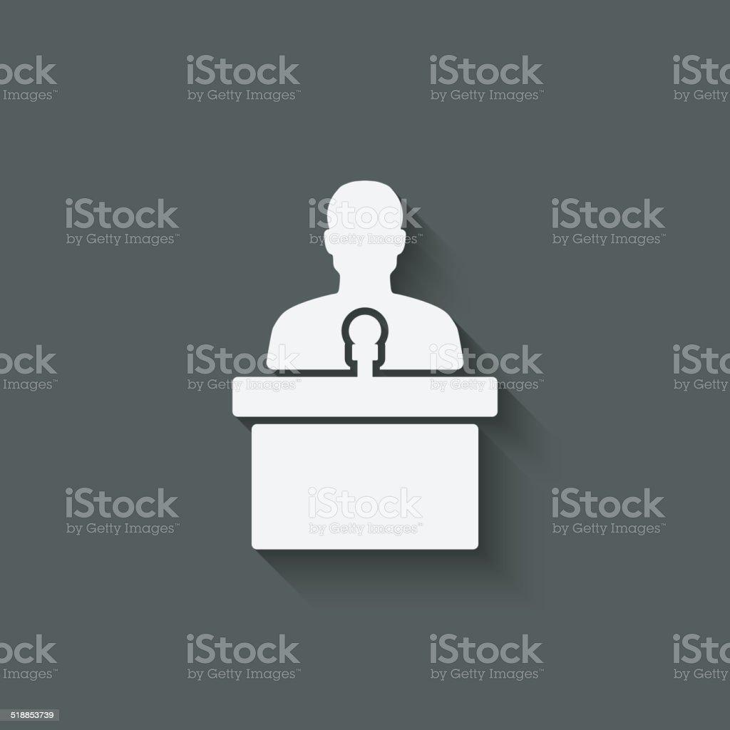 man on podium with microphone vector art illustration