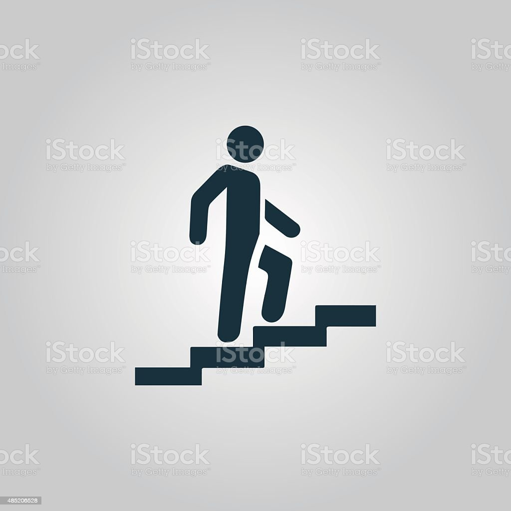 Man on Stairs going up symbol, vector vector art illustration
