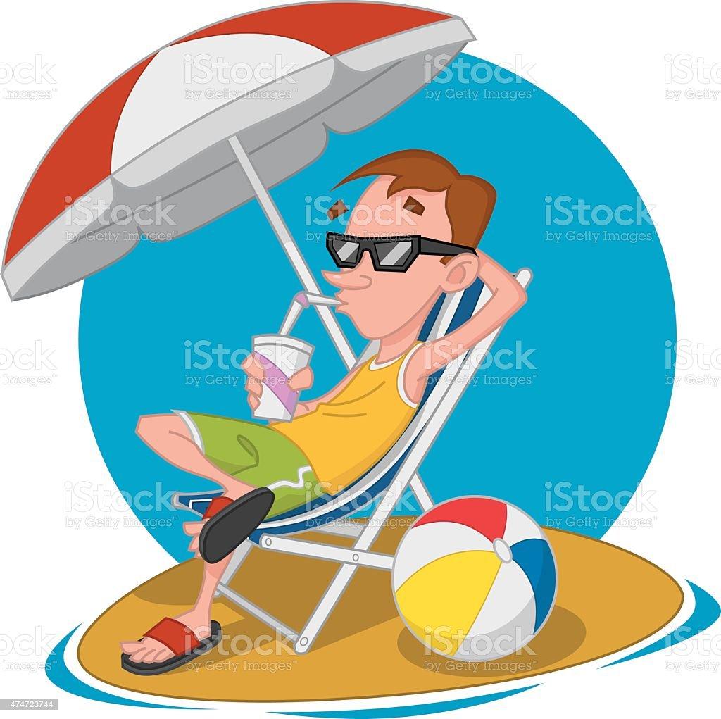 Man on the beach. ??????? ?? ?????. vector art illustration