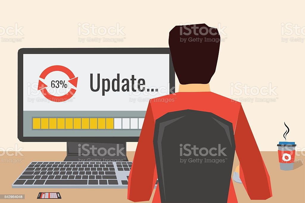 Man on the workplace - update vector art illustration