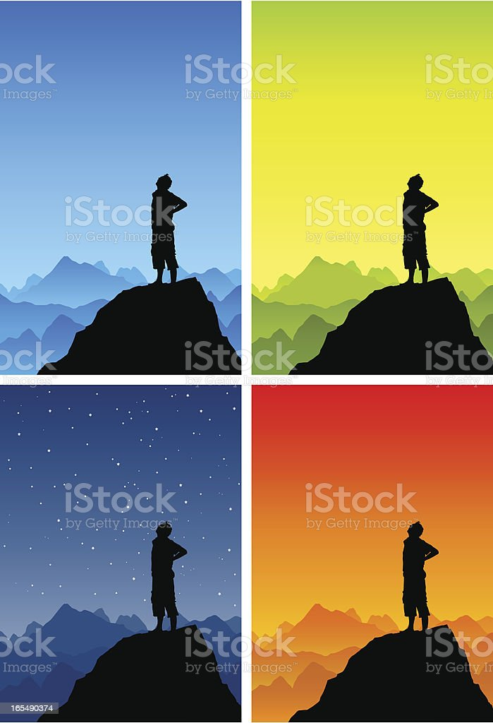 Man on top of the world looking up vector art illustration