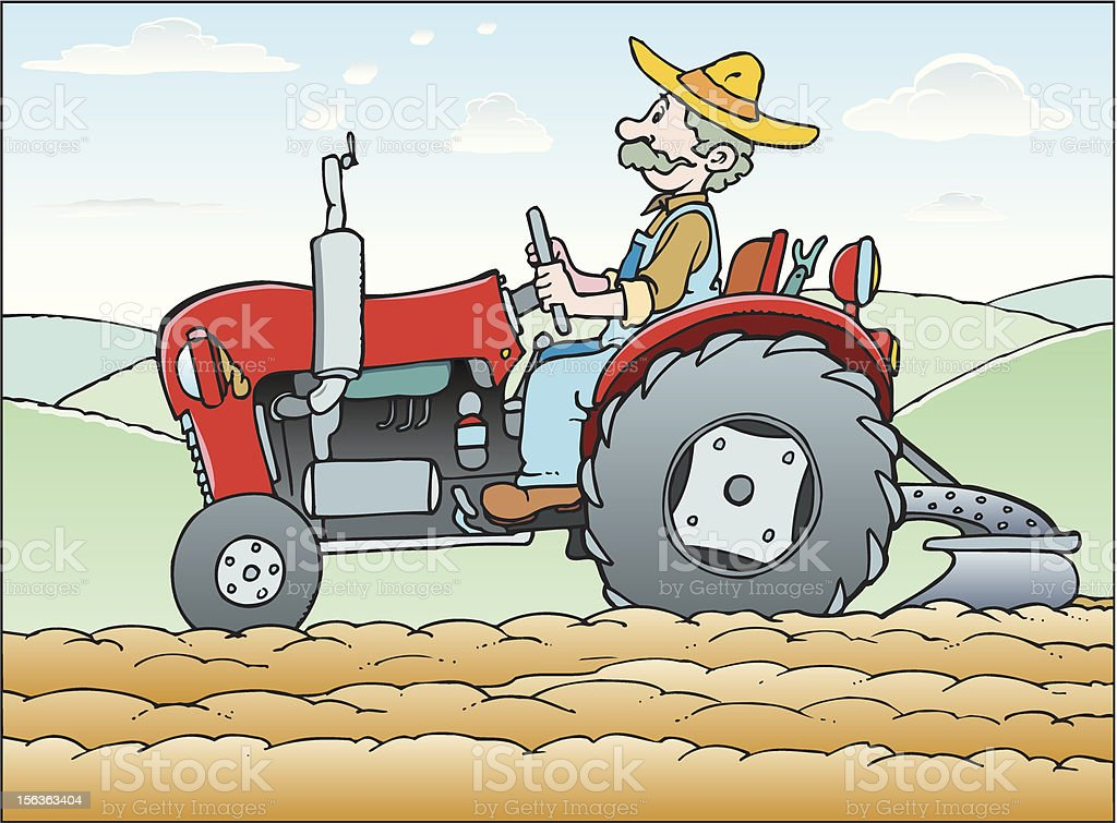 Man on tractor royalty-free stock vector art