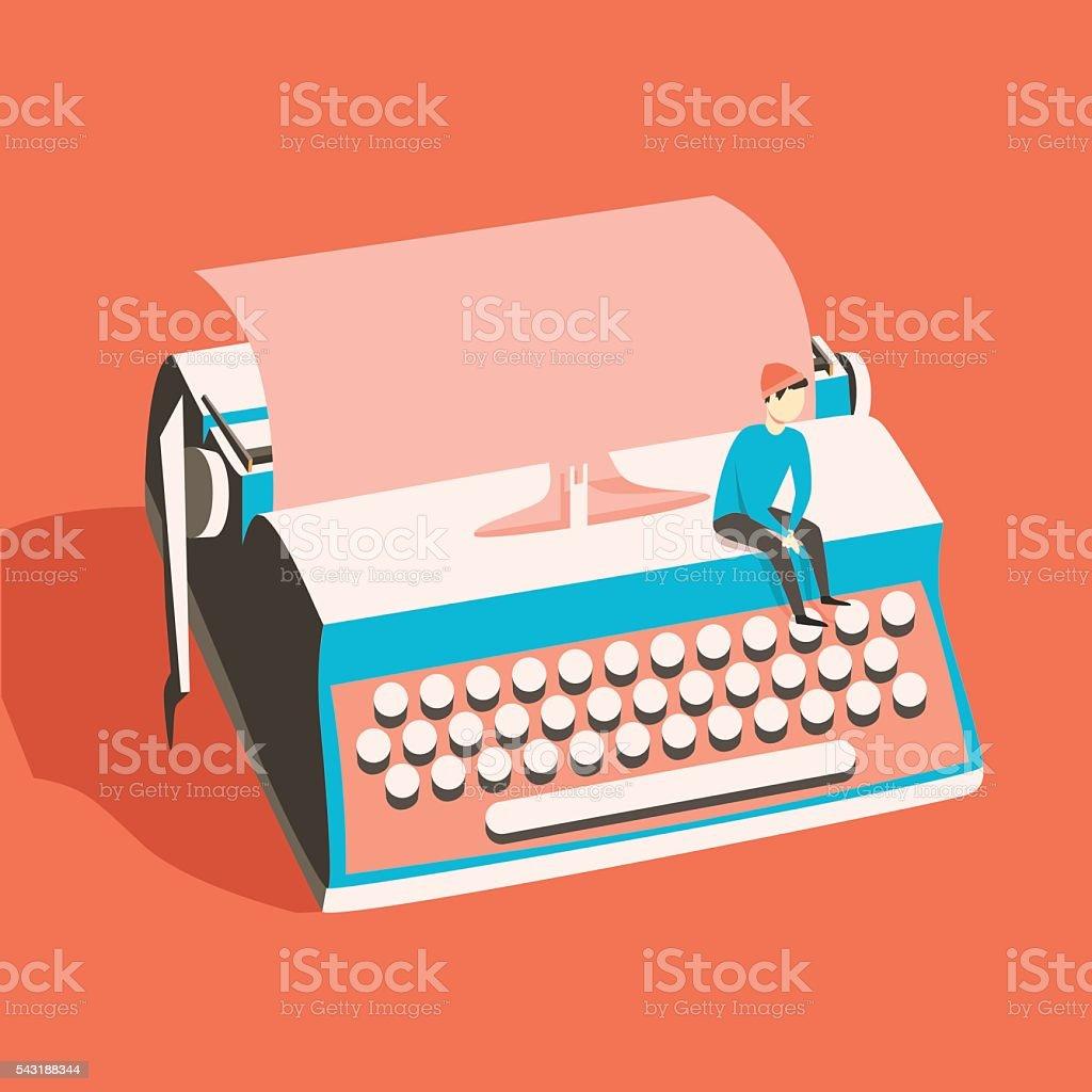 Man on vintage typewriter. Vector illustration. Isolated background vector art illustration