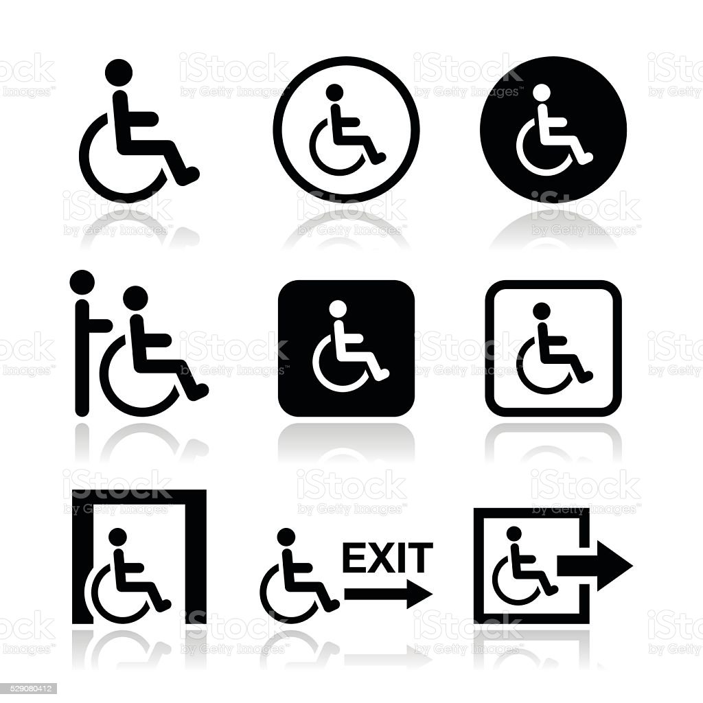 Man on wheelchair, disabled, emergency exit icon vector art illustration