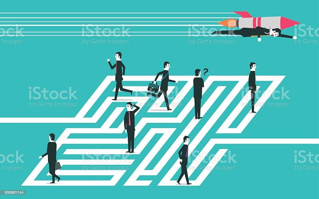 Man outwit rivals vector art illustration