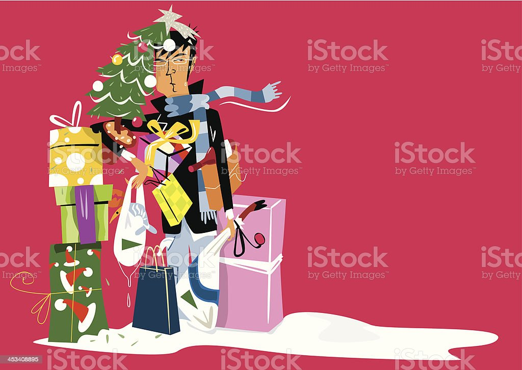 Man overwhelmed after buying Christmas gifts. royalty-free stock vector art