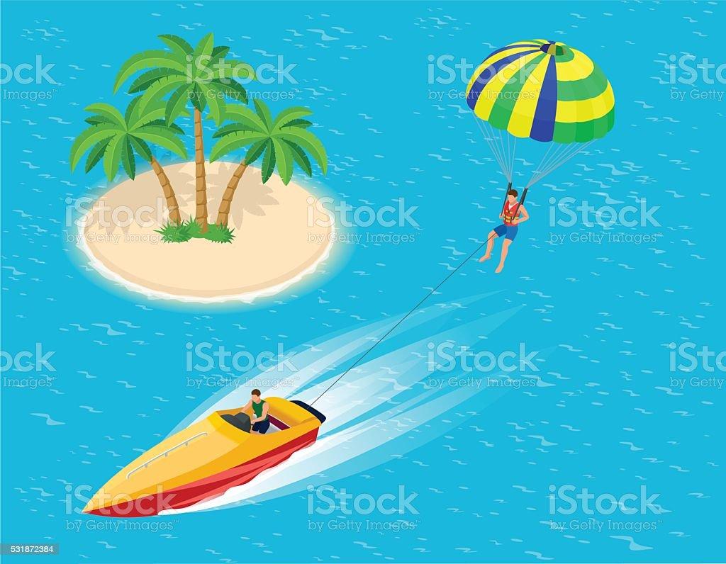 Man parasailing with parachute behind the motor boat. vector art illustration