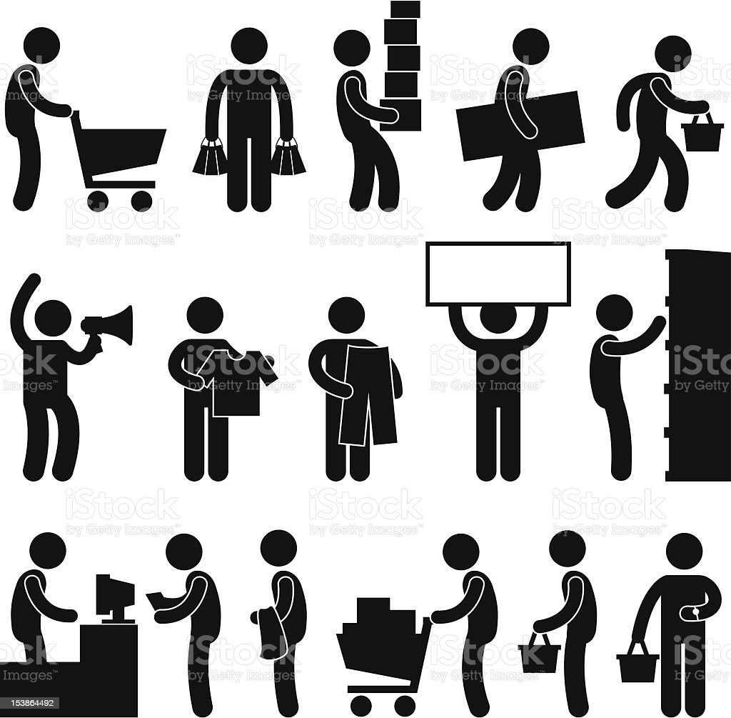 Man People Shopping Sale Pictogram vector art illustration