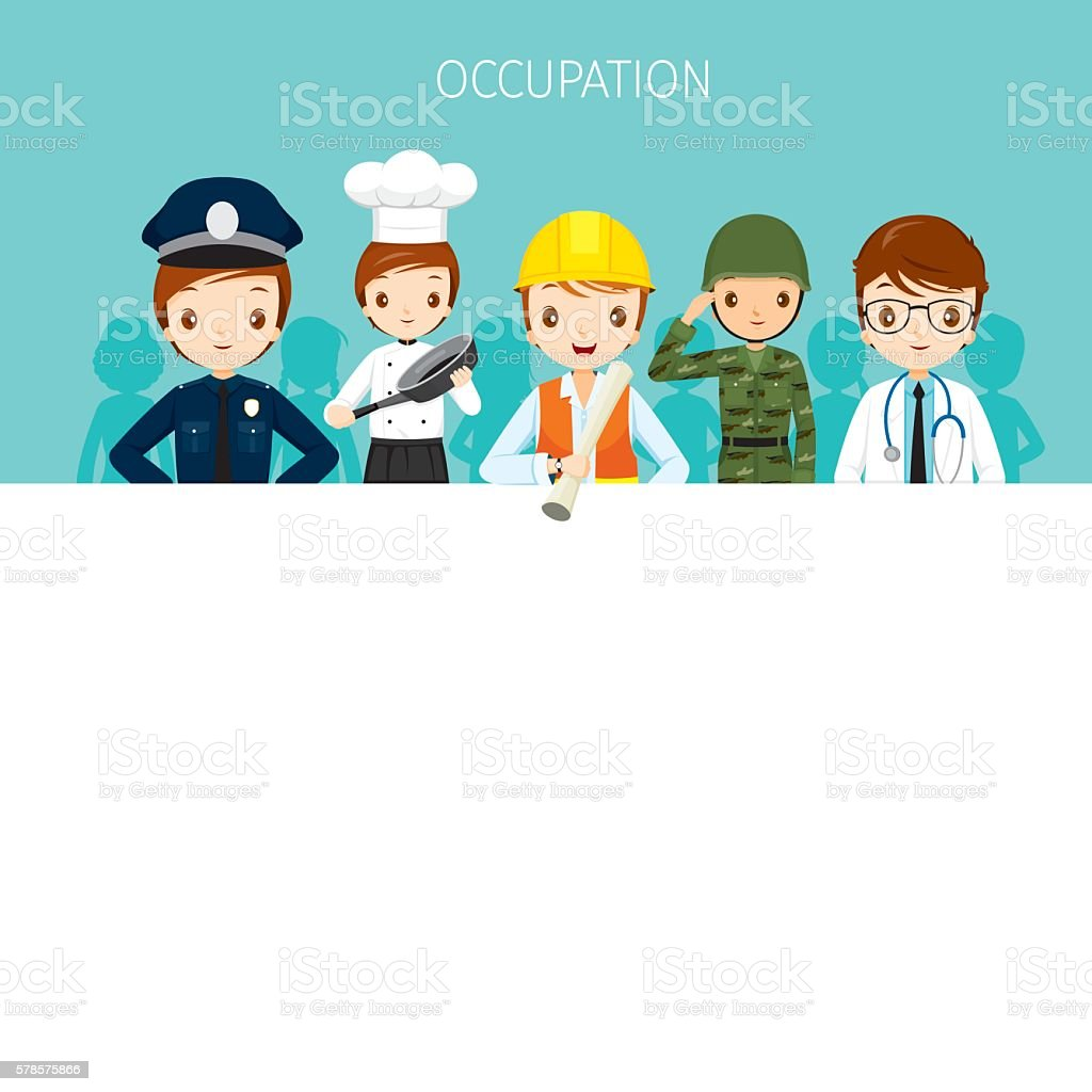 Man, People With Different Occupations Set On Banner vector art illustration