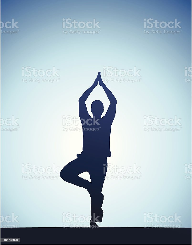 Man performing yoga in front of a sunset royalty-free stock vector art