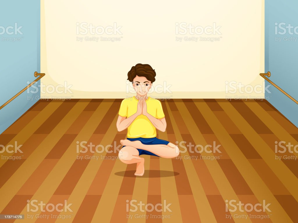 man performing yoga inside a room royalty-free stock vector art