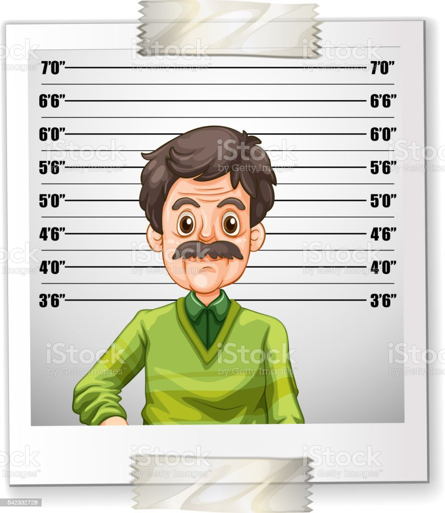 Man photo with height measurement vector art illustration