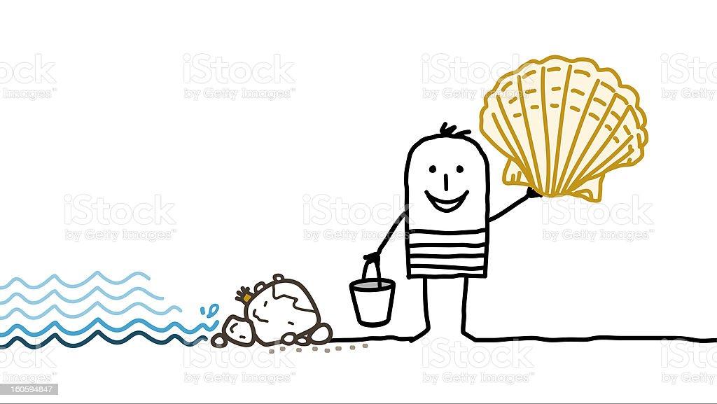 man picking shells & sea shore vector art illustration