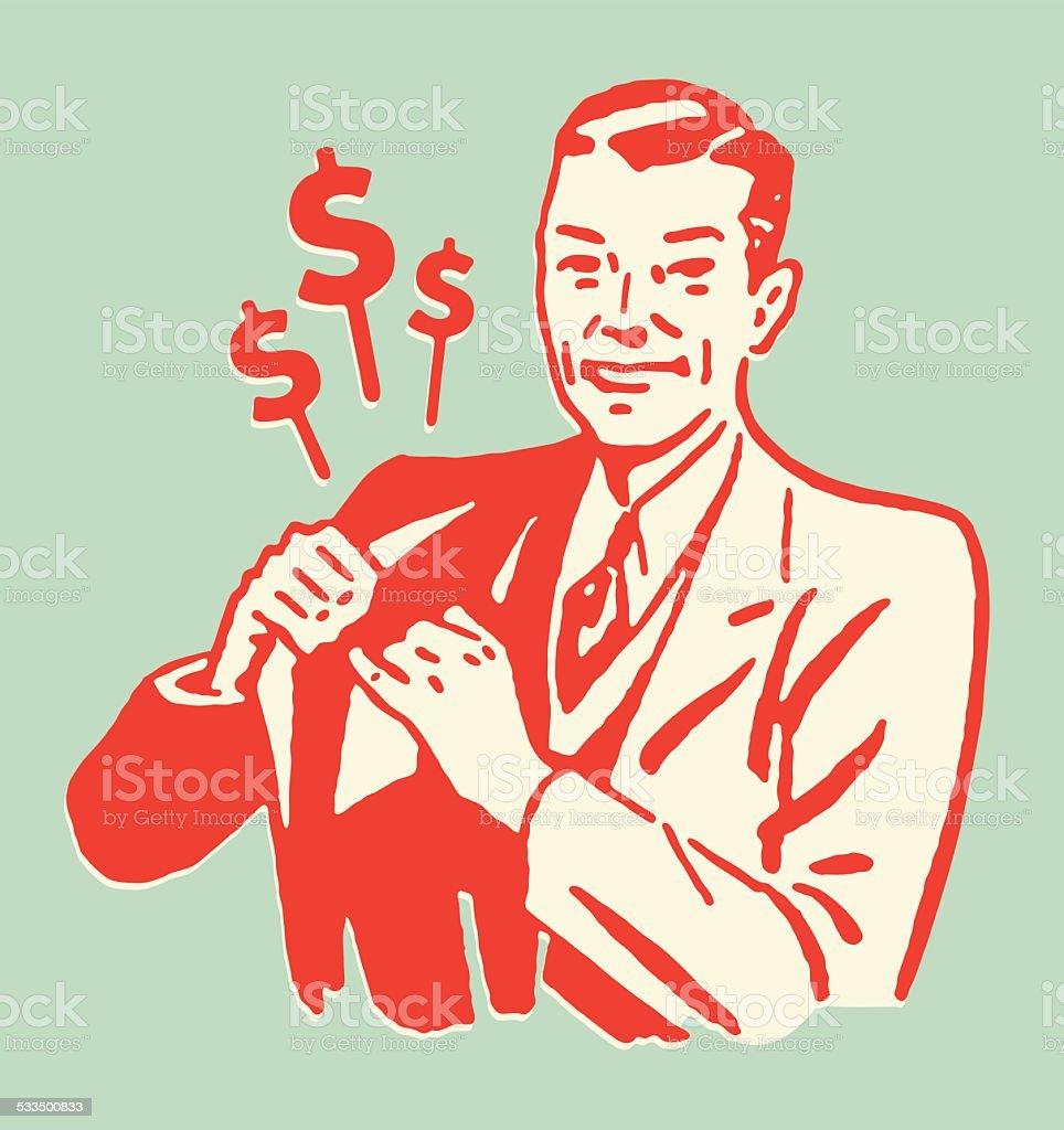 Man Placing Money in Suit Coat Pocket vector art illustration