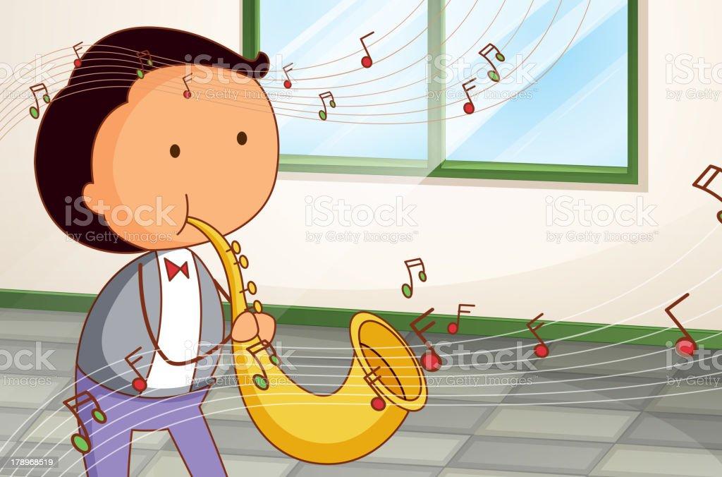 Man playing a saxophone royalty-free stock vector art