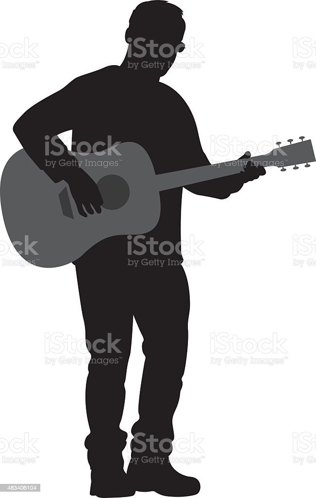 Man Playing Acoustic Guitar Silhouette vector art illustration