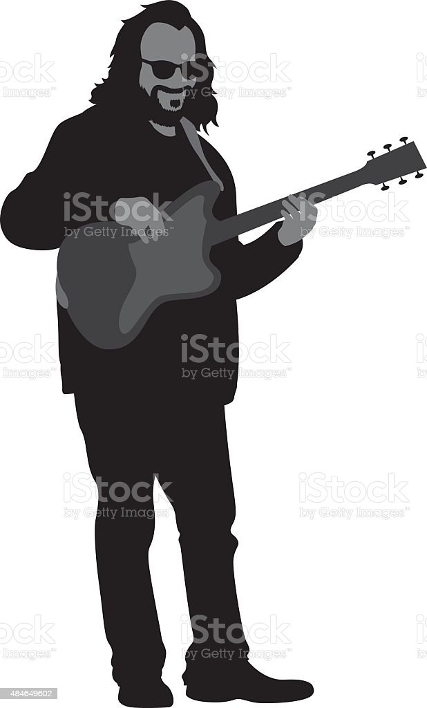 Man Playing Electric Guitar Silhouette vector art illustration