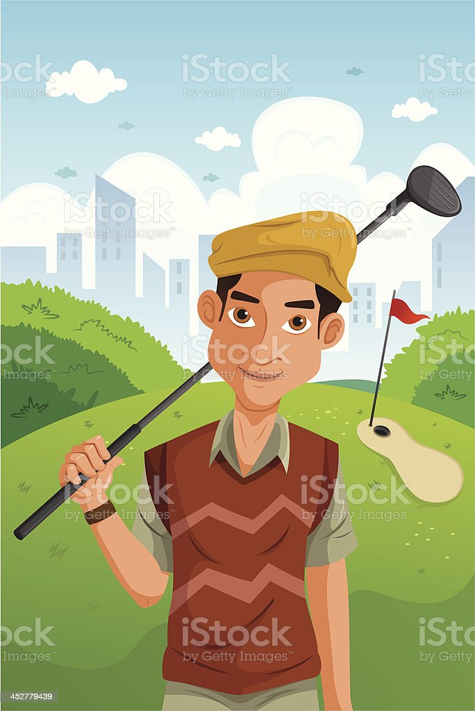 Man playing golf royalty-free stock vector art