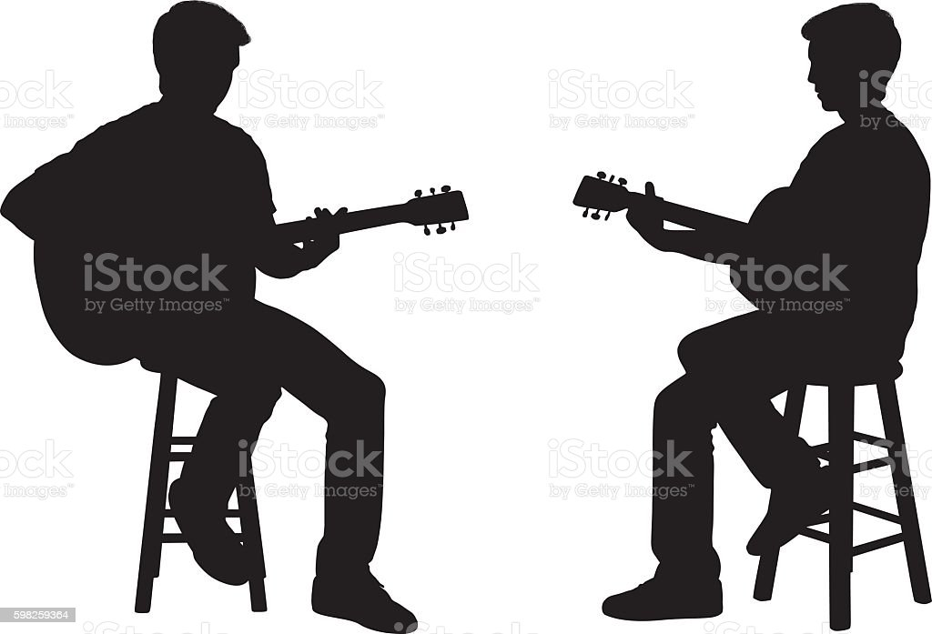 Man playing guitar vector art illustration