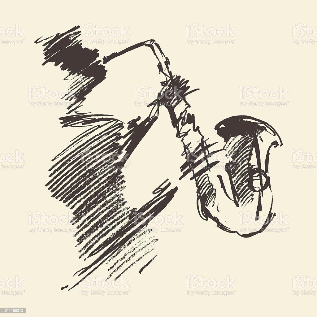 Man playing saxophone drawn vector sketch. vector art illustration