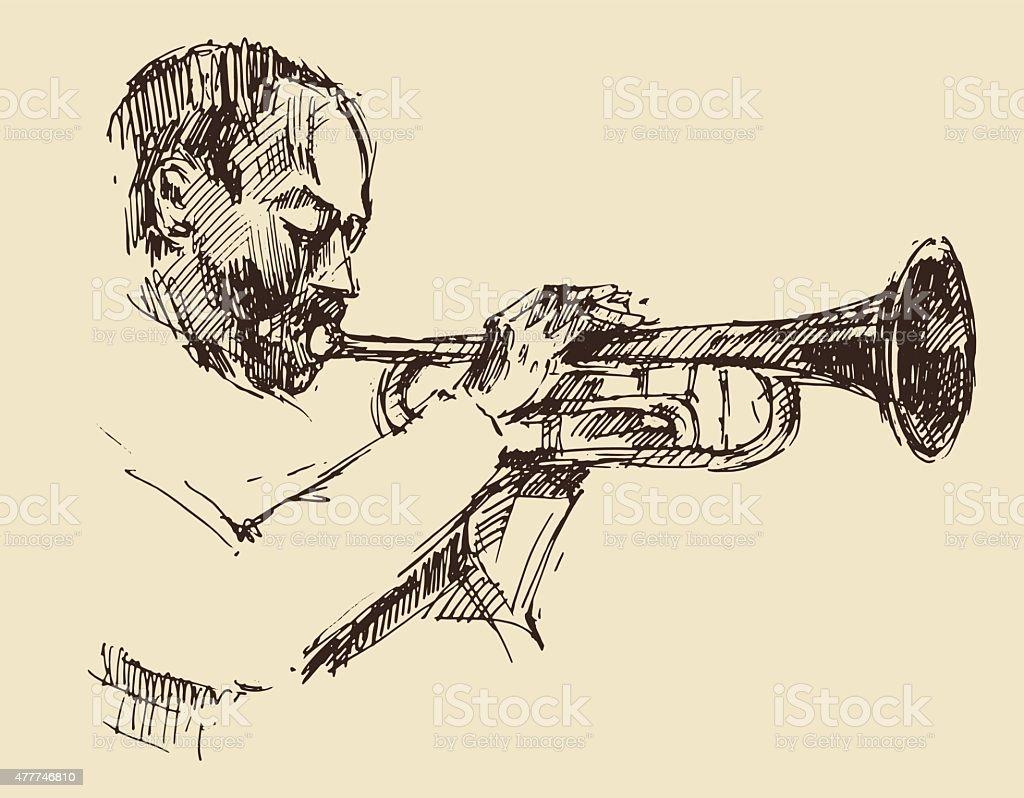 JAZZ Man Playing the Trumpet  Hand Drawn, Sketch vector art illustration