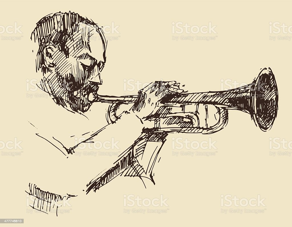 JAZZ Man Playing the Trumpet  Hand Drawn, Sketch vector art illustration