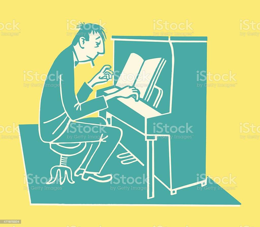 Man Playing Upright Piano vector art illustration