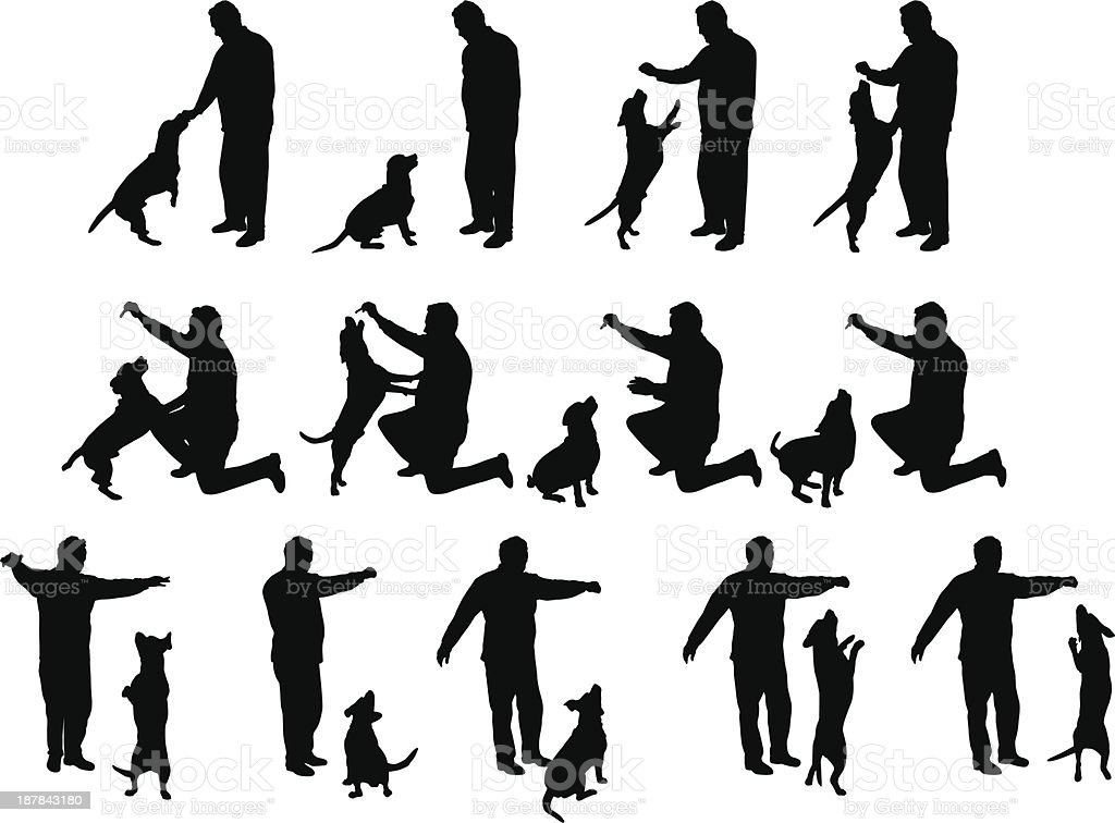 man playing with a dog vector silhouettes royalty-free stock vector art