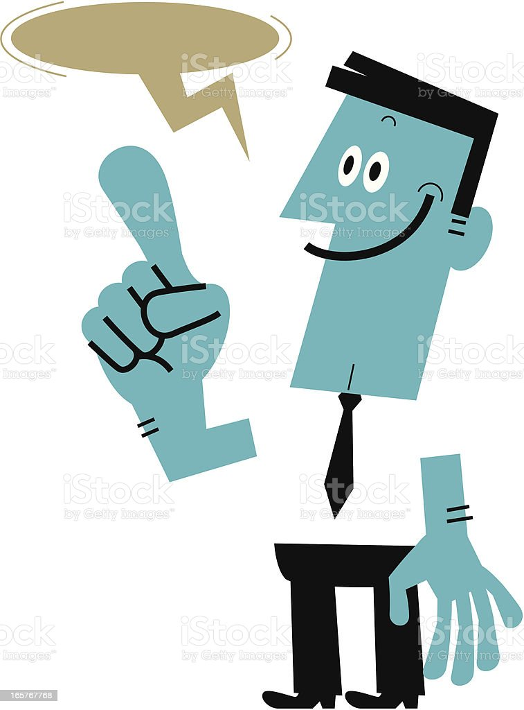 Man pointing at something and introducing royalty-free stock vector art