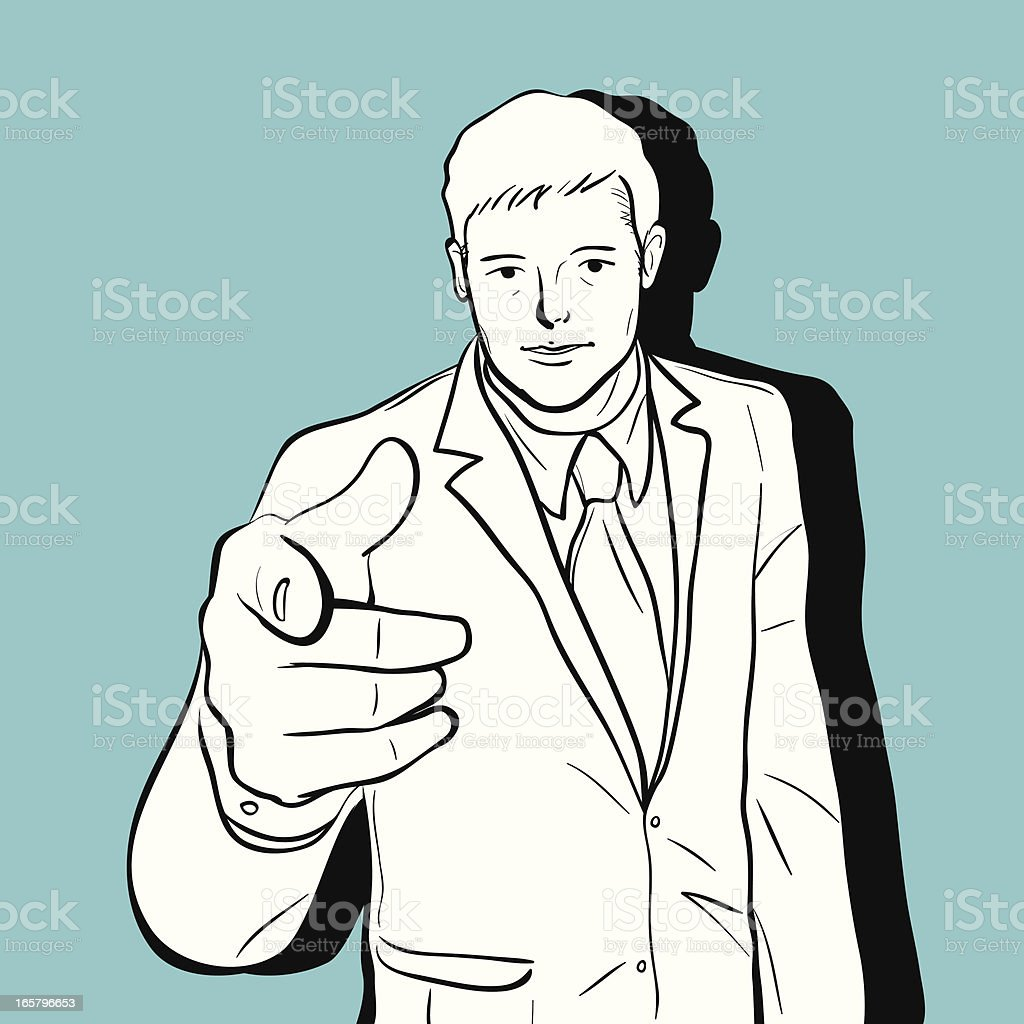 Man pointing at you royalty-free stock vector art
