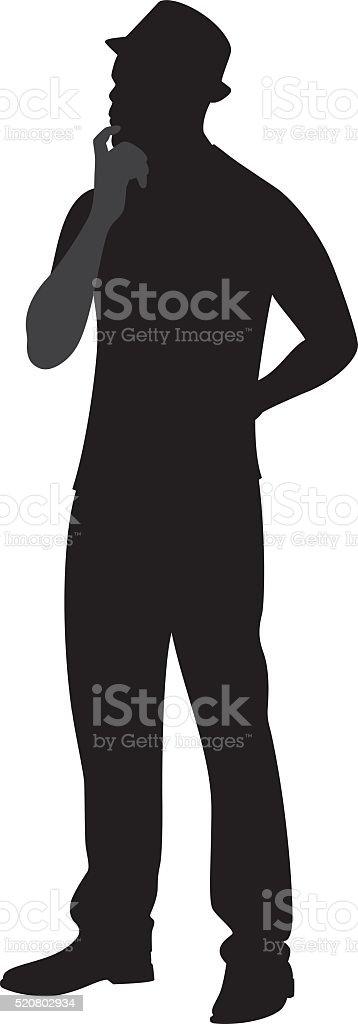 Man Pondering Silhouette vector art illustration