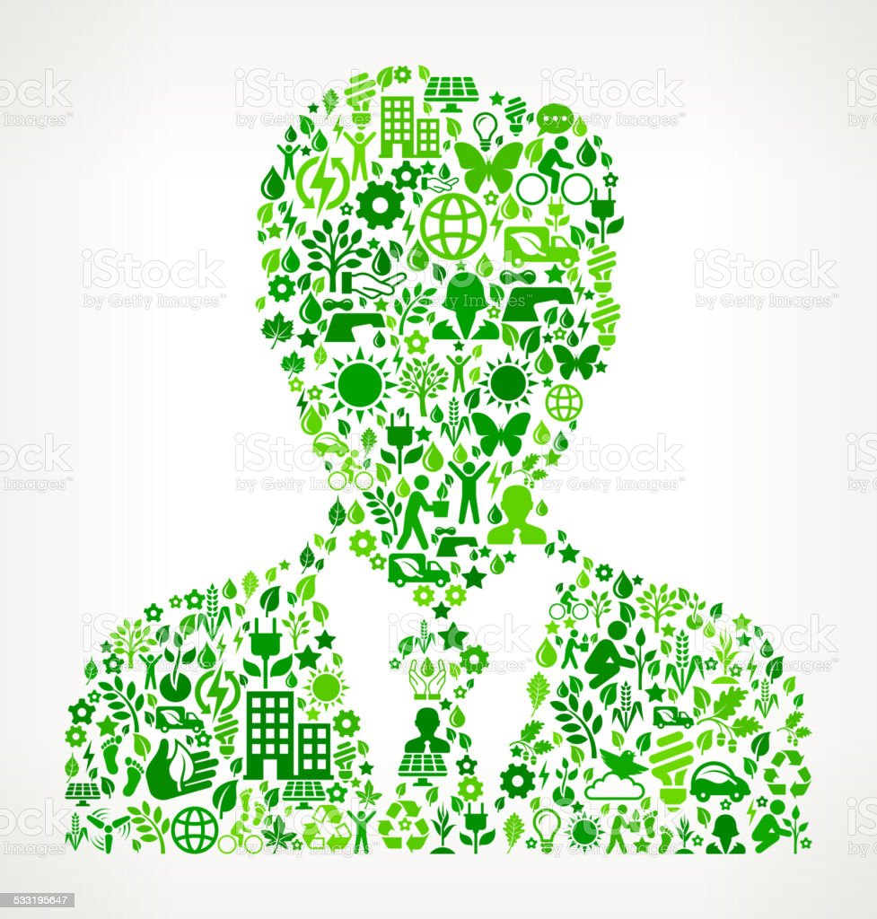 man Portrait Environmental Conservation and Nature interface icon Pattern vector art illustration
