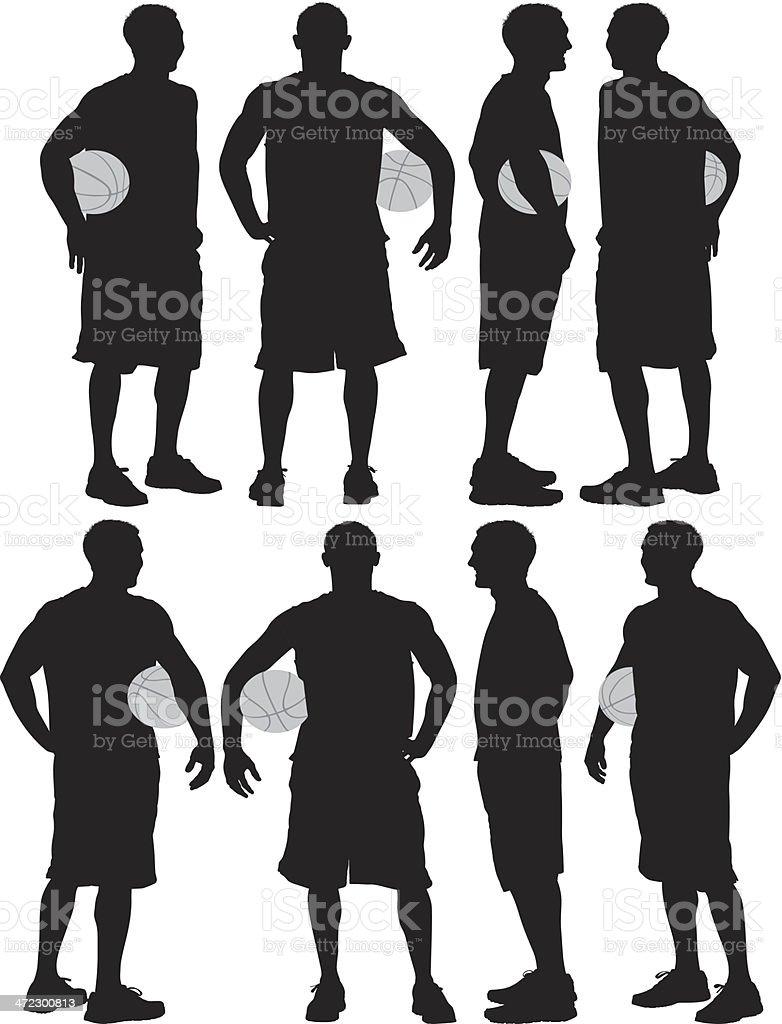 Man posing with a basketball royalty-free stock vector art
