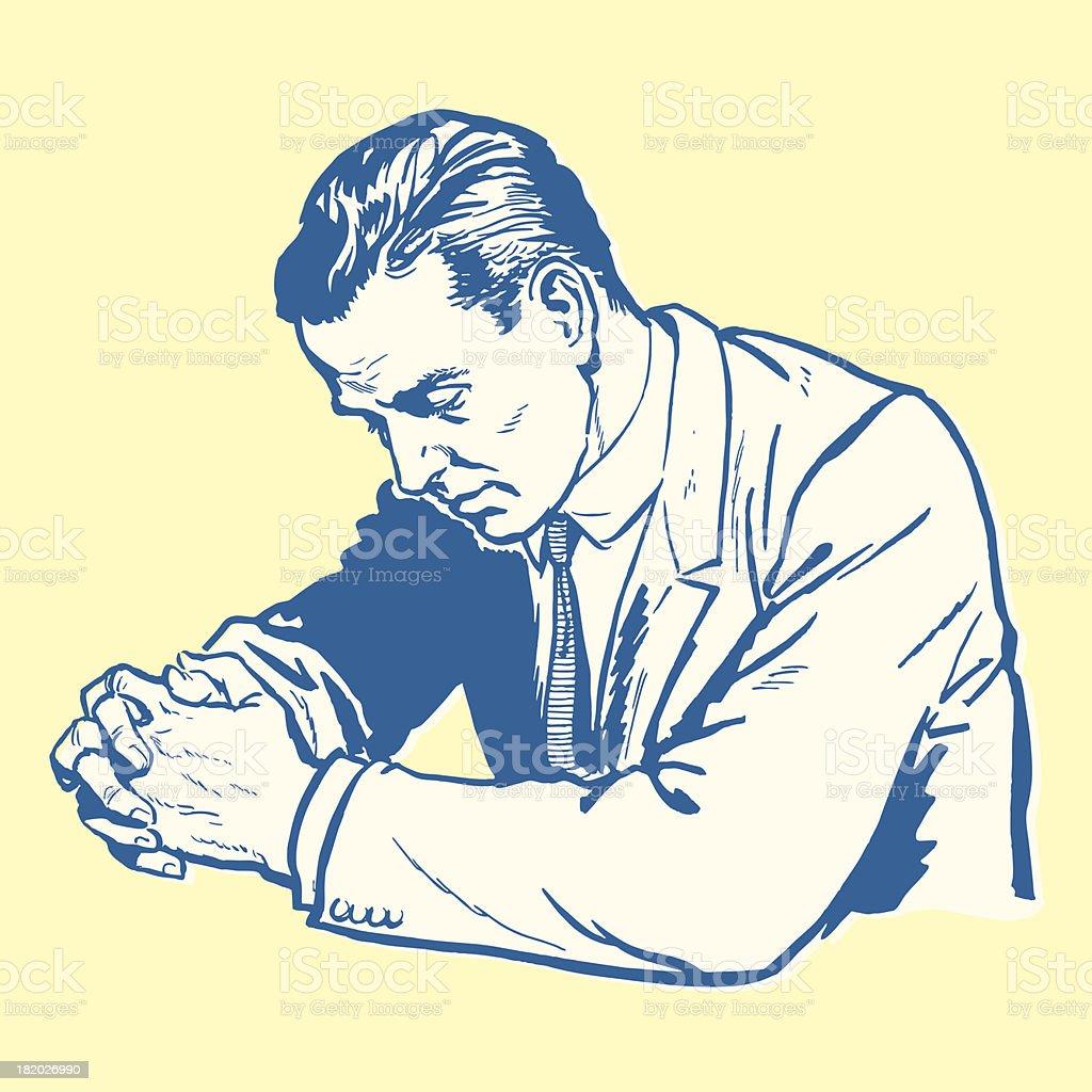 Man Praying royalty-free stock vector art
