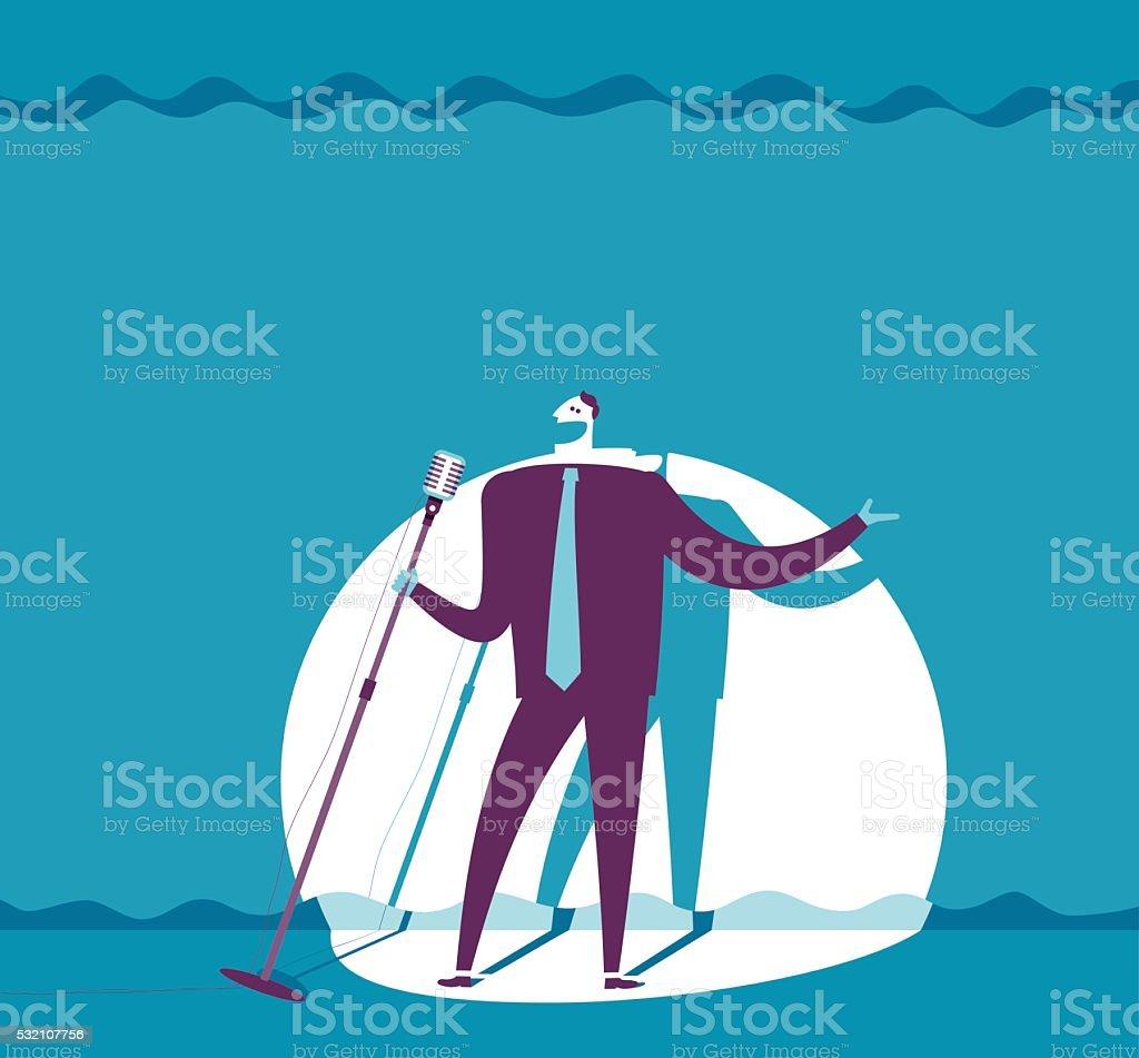 man present on stage vector art illustration