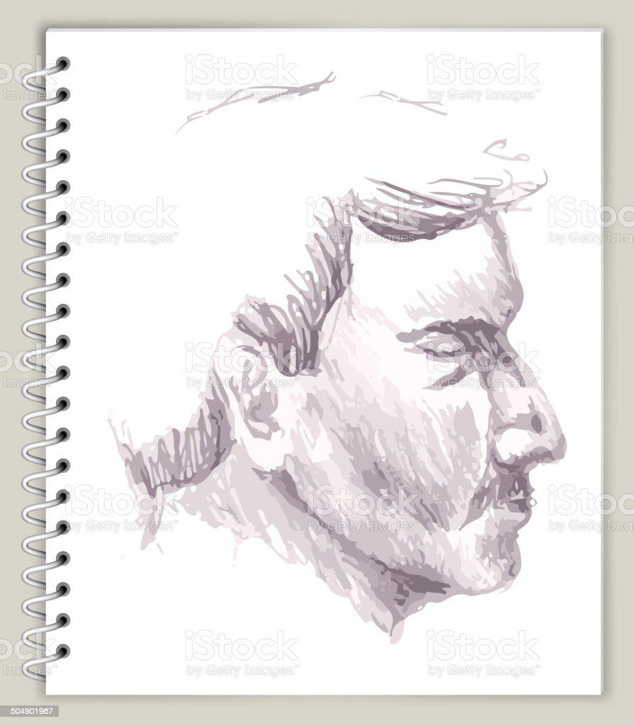 man Profile Drawing on Art Sketcbook royalty free vector art royalty-free stock vector art