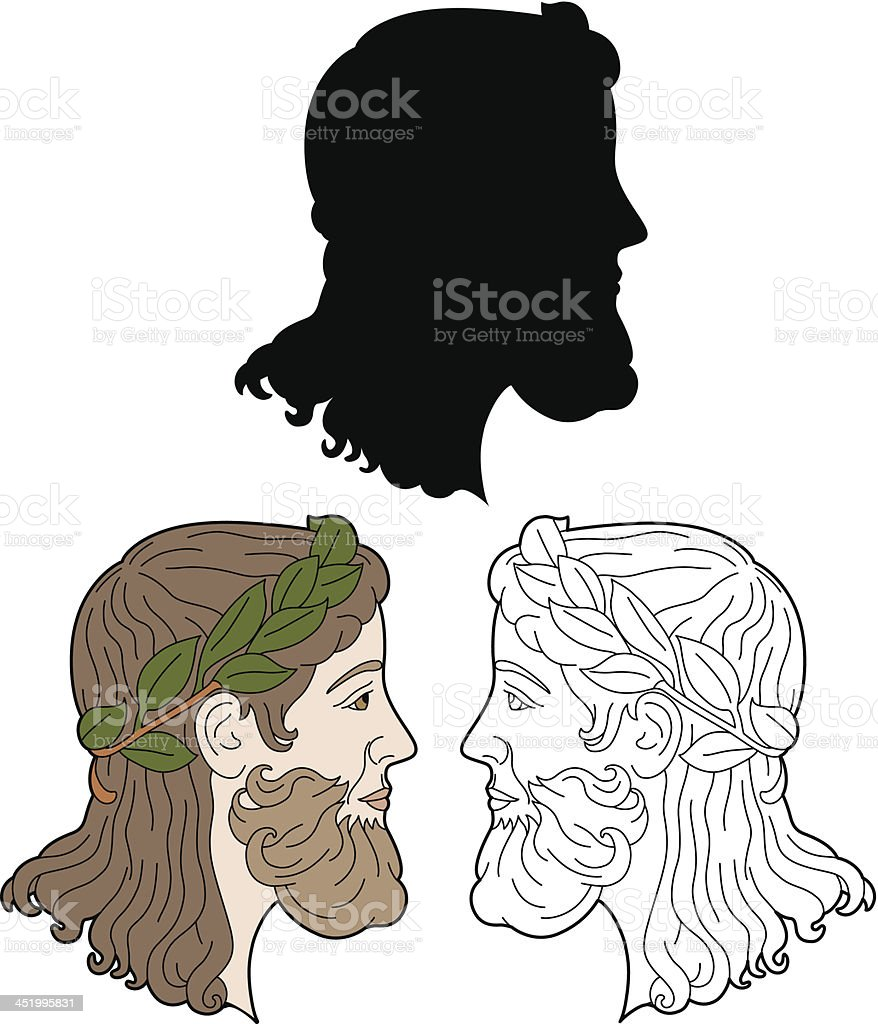 Man profile with crown vector art illustration