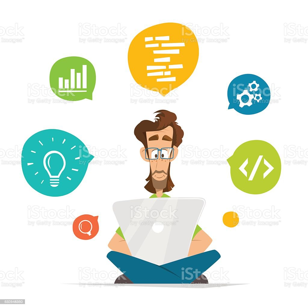 Man programmer freelancer student character and laptop notebook vector art illustration