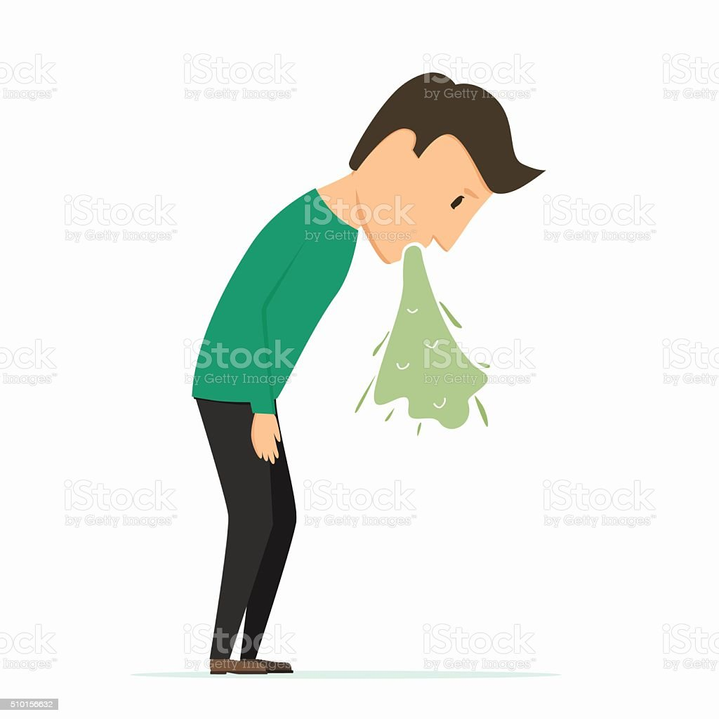 Man puke. Bad feeling. Poisoning vector art illustration