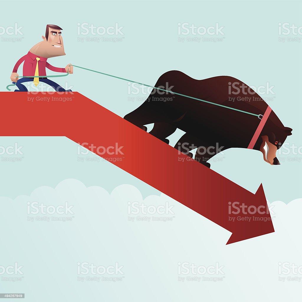 man pulling bear vector art illustration