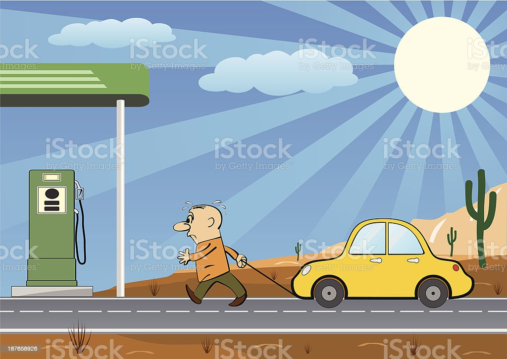Man Pulling Empty Car Into a Gas Station vector art illustration