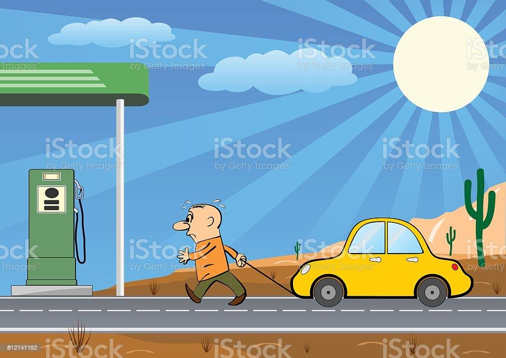 Man Pulling Empty Car Into a Gas Station vector art illustration