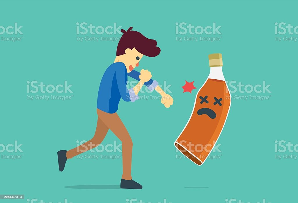 Man punching a liquor bottles to knock out. vector art illustration
