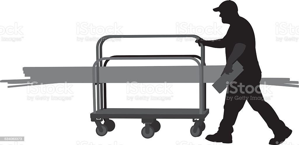 Man Pushing Cart of Wooden Planks Silhouette vector art illustration