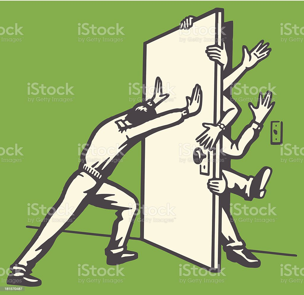 Man Pushing Door Shut with People Struggling to Get Out vector art illustration