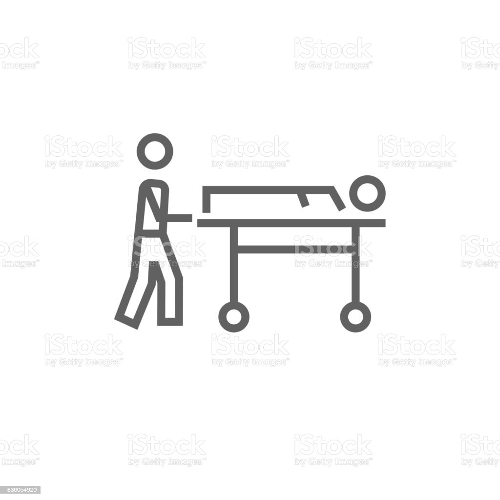 Man pushing stretchers line icon vector art illustration
