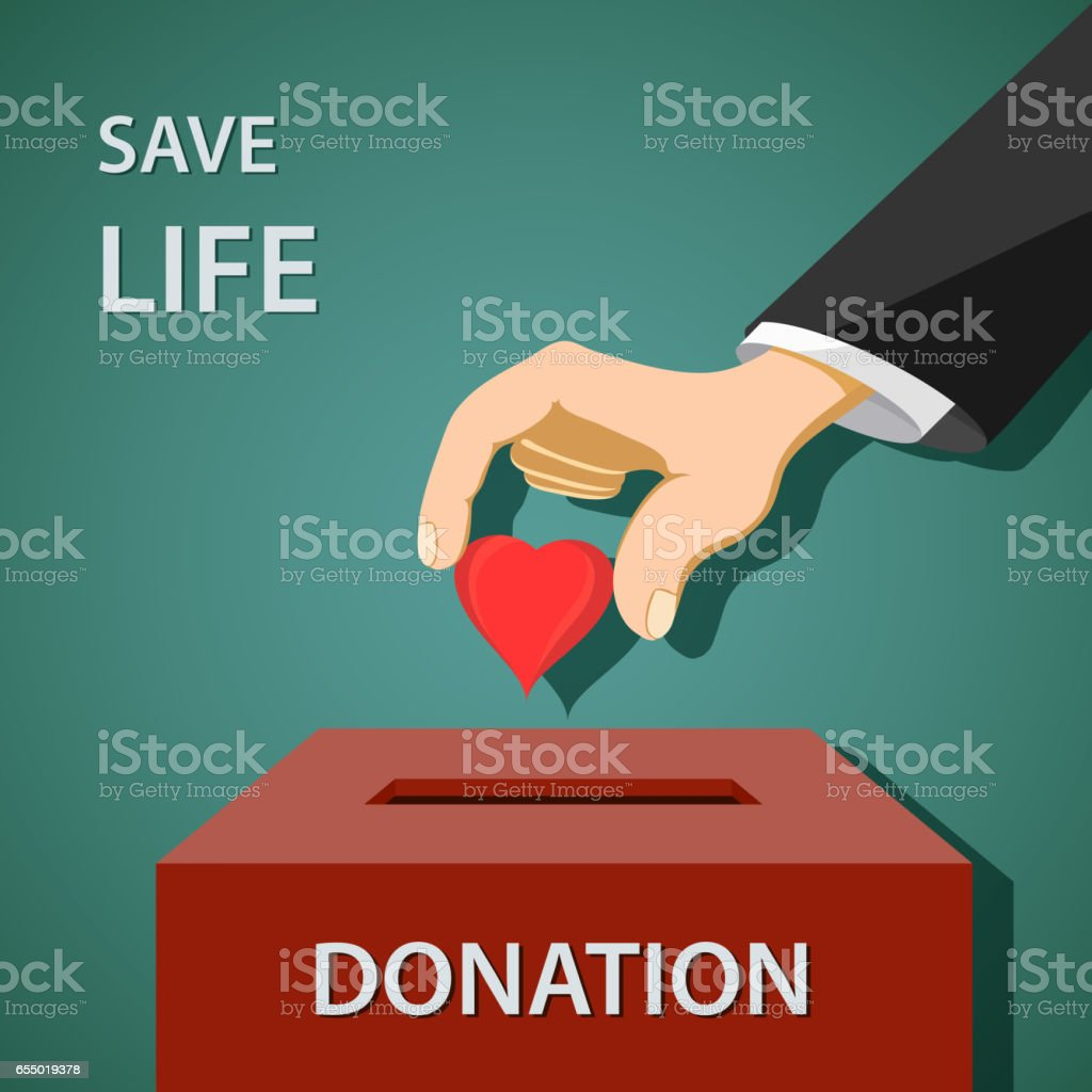 Man puts a red heart in to donation box. Charity and philanthropy. vector art illustration