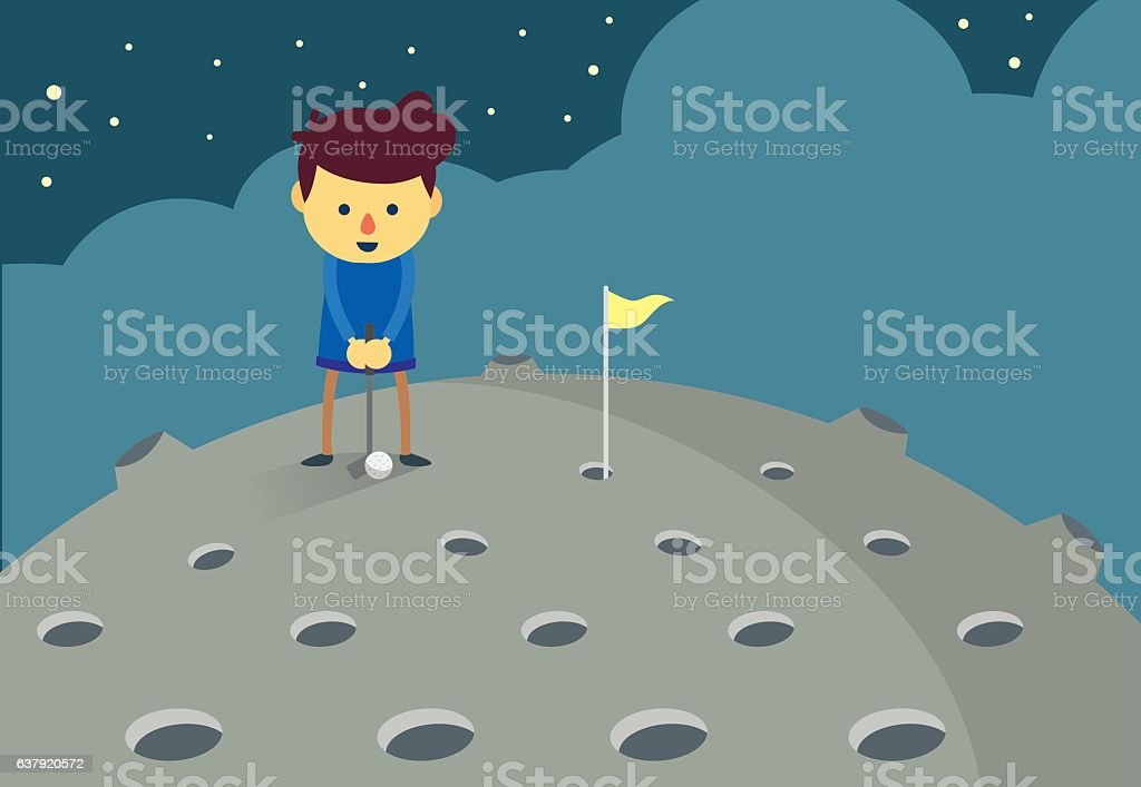 Man putting a golf ball hole on the moon. vector art illustration