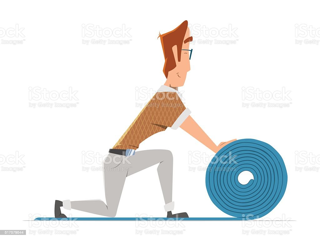 Man putting down linoleum flooring. Flooring installation illust vector art illustration