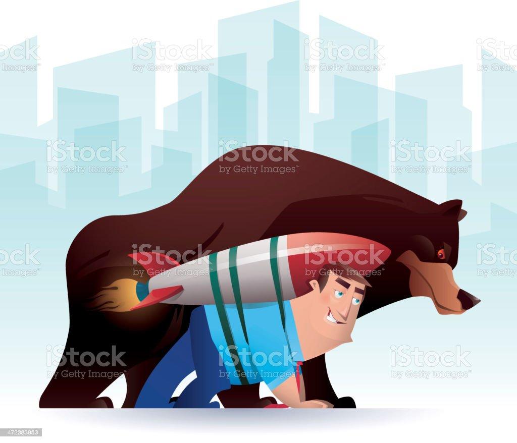 man racing with bear royalty-free stock vector art